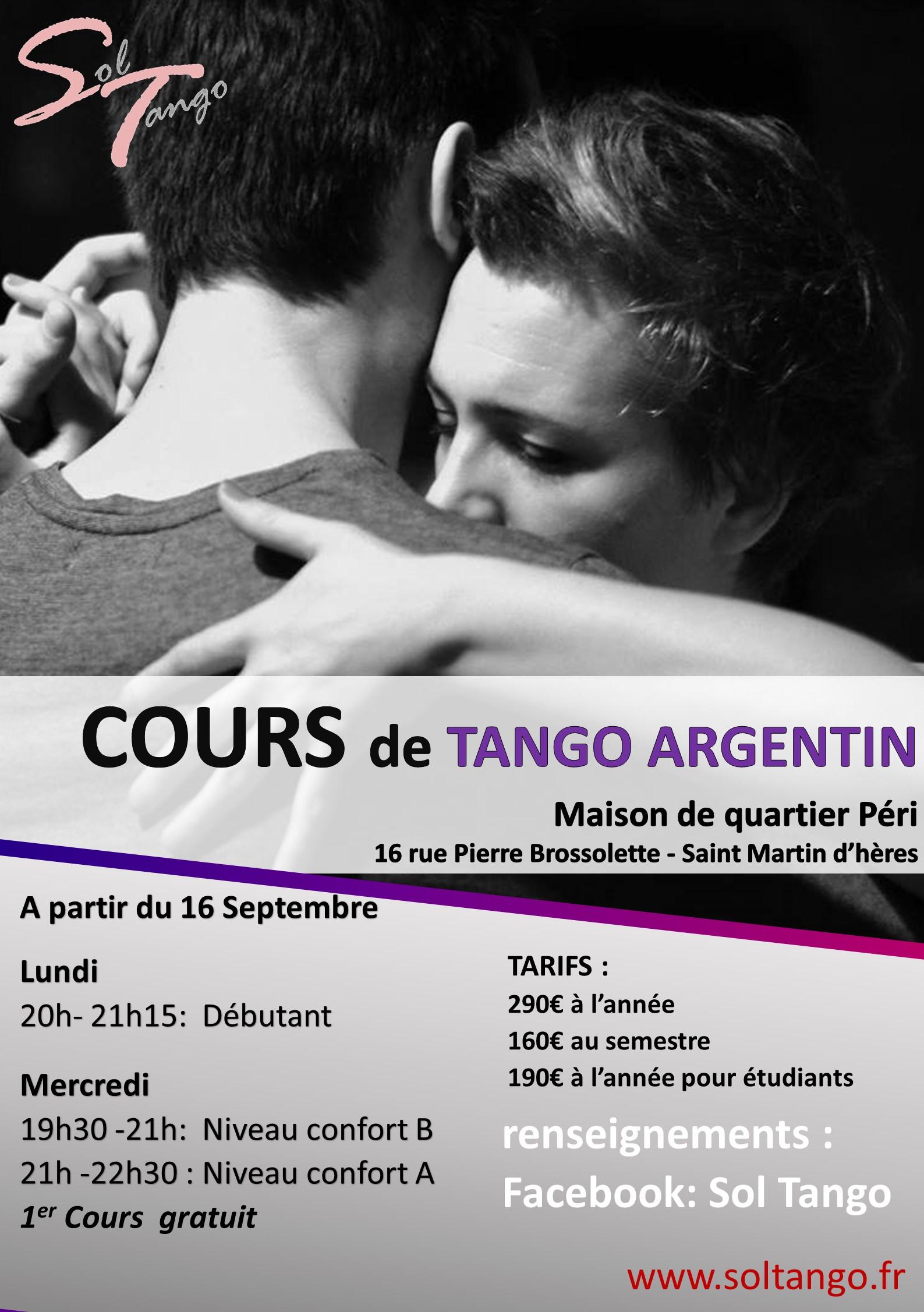Les cours de tango reprennent la semaine du  16 Septembre 2019